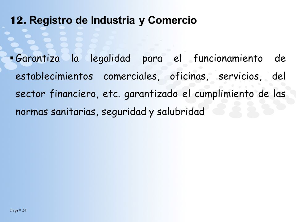12. Registro de Industria y Comercio