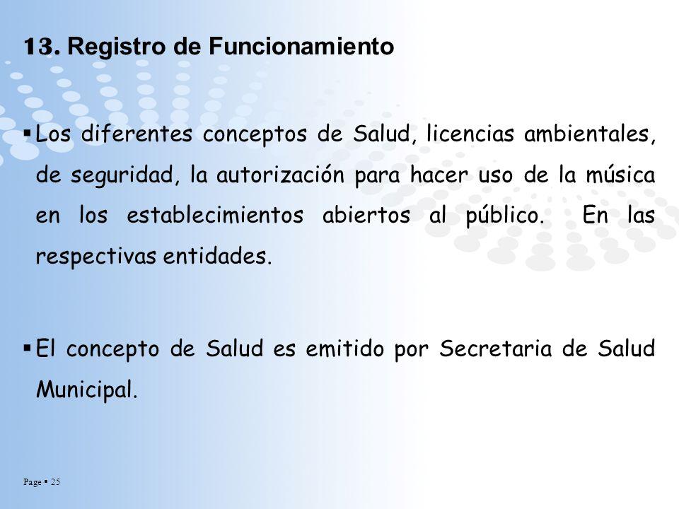 13. Registro de Funcionamiento