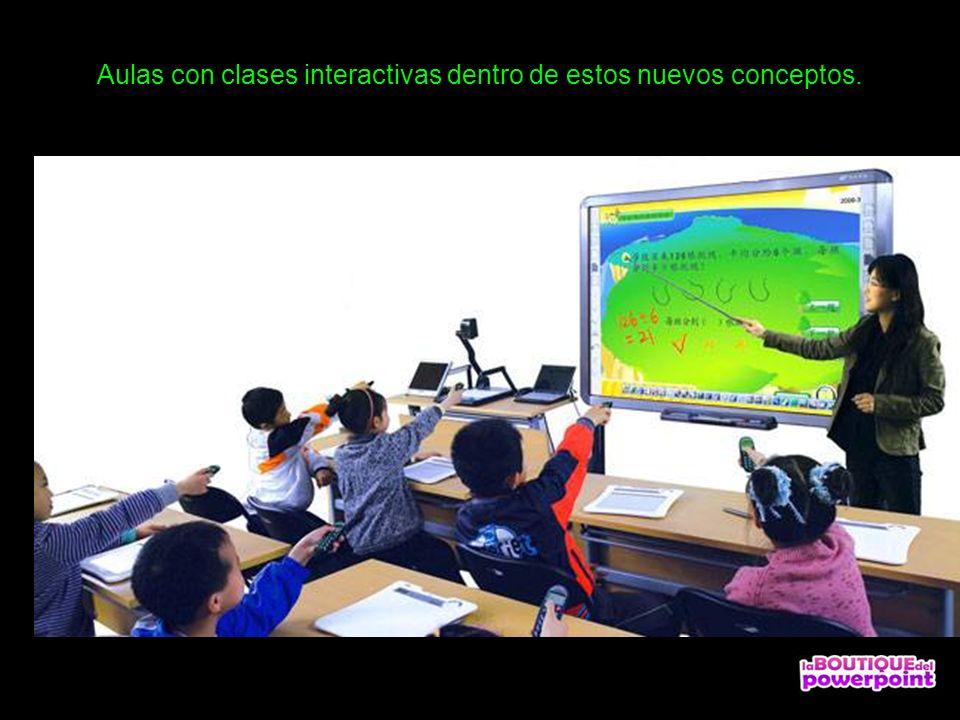 Aulas con clases interactivas dentro de estos nuevos conceptos.