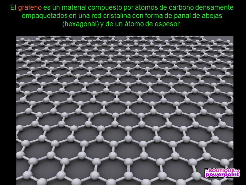 El grafeno es un material compuesto por átomos de carbono densamente empaquetados en una red cristalina con forma de panal de abejas (hexagonal) y de un átomo de espesor.