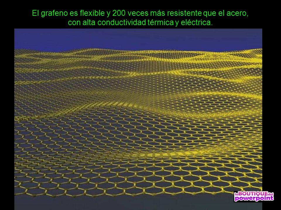 El grafeno es flexible y 200 veces más resistente que el acero, con alta conductividad térmica y eléctrica.