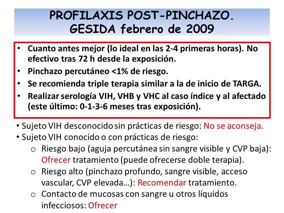 PROFILAXIS POST-PINCHAZO. GESIDA febrero de 2009