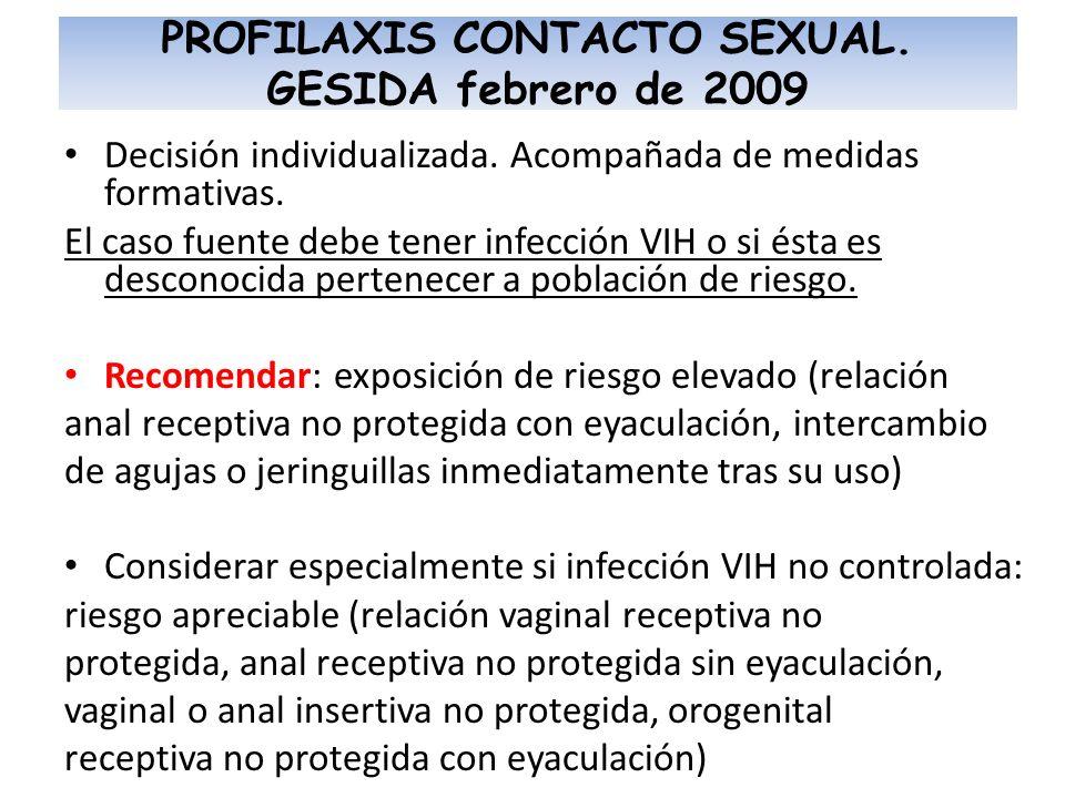 PROFILAXIS CONTACTO SEXUAL. GESIDA febrero de 2009