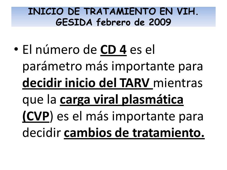 INICIO DE TRATAMIENTO EN VIH. GESIDA febrero de 2009