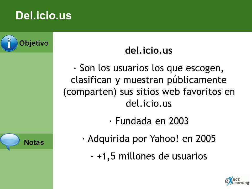 Del.icio.usdel.icio.us. · Son los usuarios los que escogen, clasifican y muestran públicamente (comparten) sus sitios web favoritos en del.icio.us.