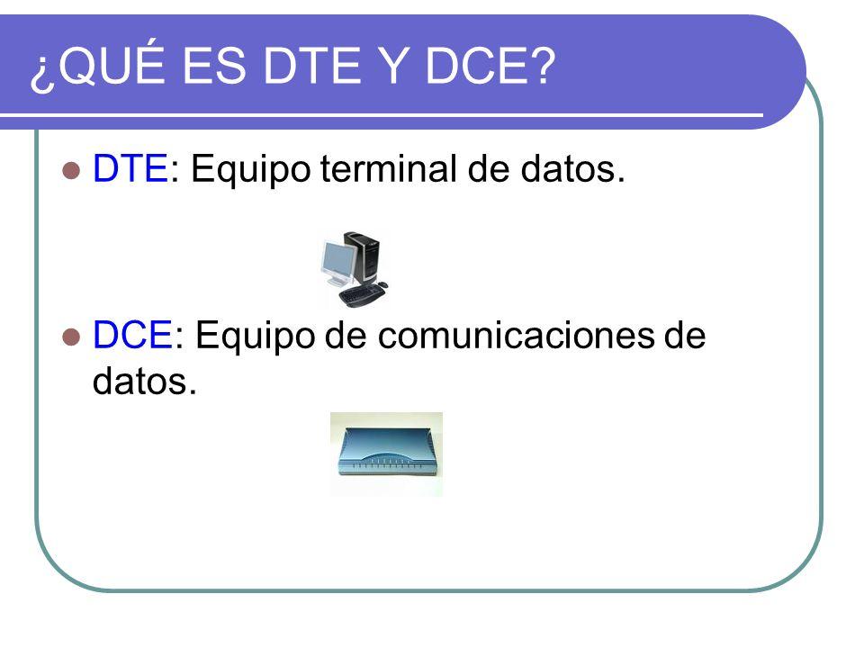 ¿QUÉ ES DTE Y DCE DTE: Equipo terminal de datos.
