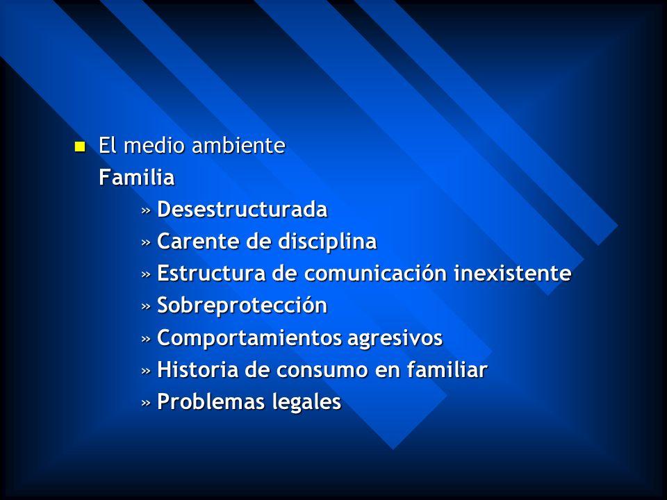 El medio ambiente Familia. Desestructurada. Carente de disciplina. Estructura de comunicación inexistente.
