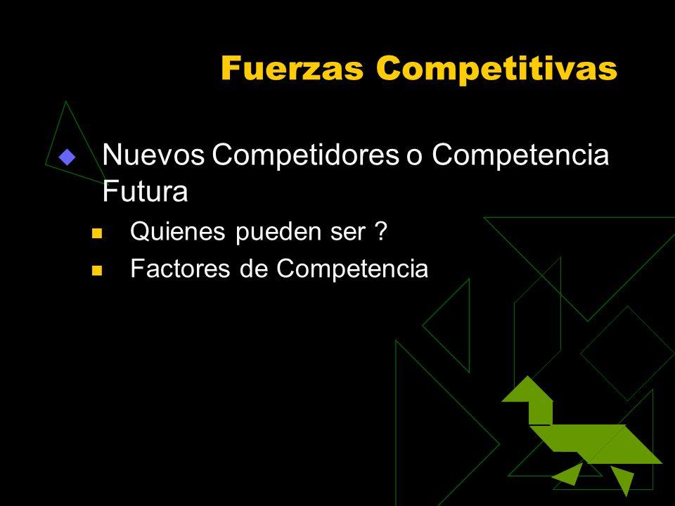 Fuerzas Competitivas Nuevos Competidores o Competencia Futura