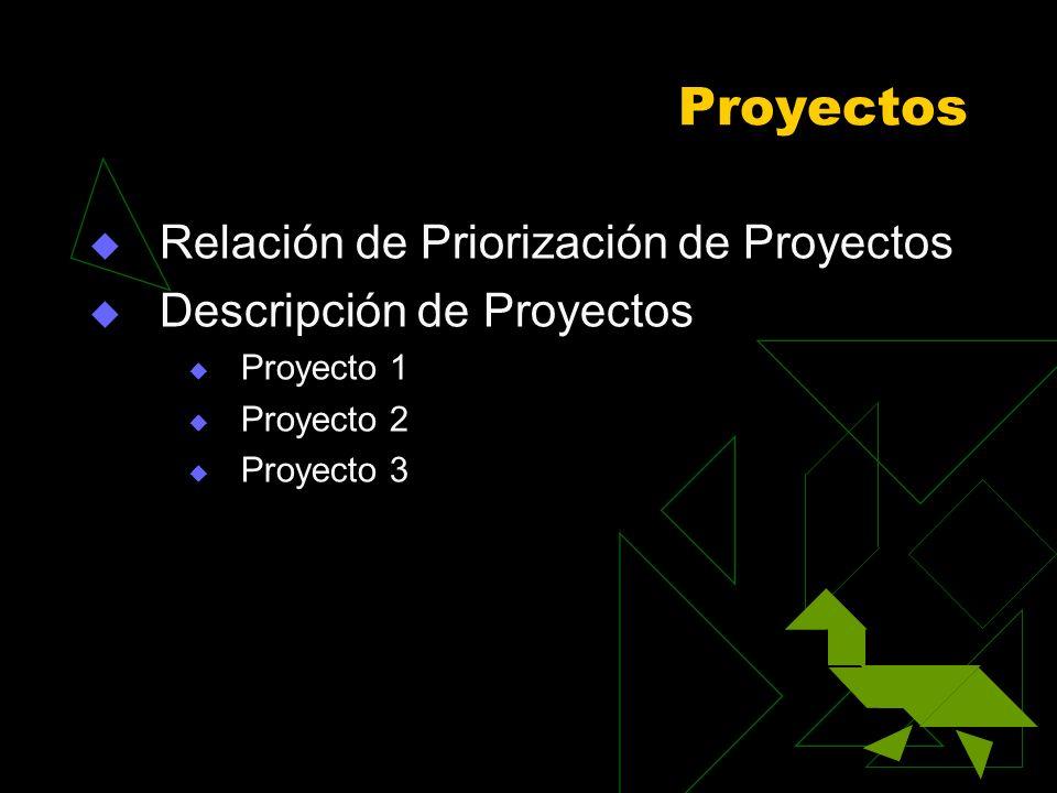 Proyectos Relación de Priorización de Proyectos
