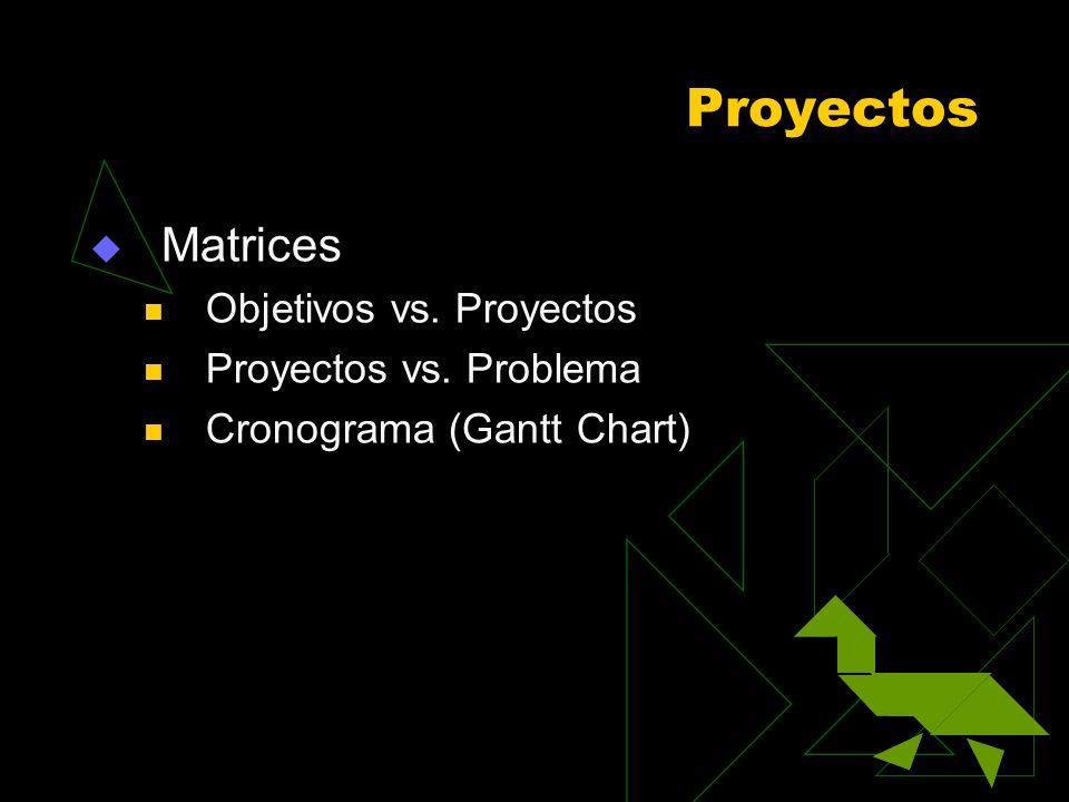 Proyectos Matrices Objetivos vs. Proyectos Proyectos vs. Problema