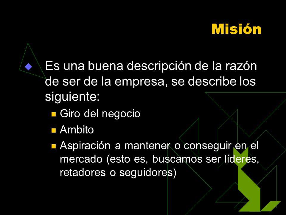 Misión Es una buena descripción de la razón de ser de la empresa, se describe los siguiente: Giro del negocio.