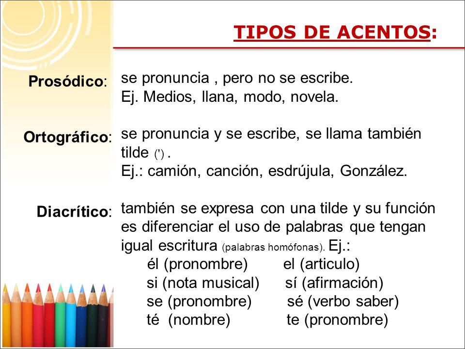 TIPOS DE ACENTOS: se pronuncia , pero no se escribe. Prosódico: