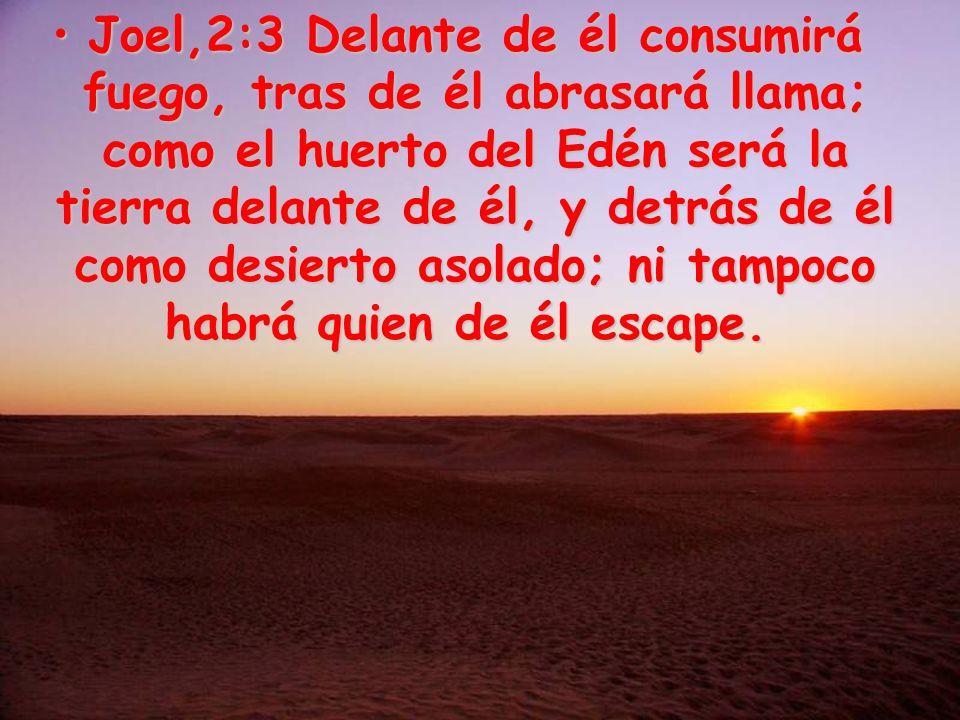 Joel,2:3 Delante de él consumirá fuego, tras de él abrasará llama; como el huerto del Edén será la tierra delante de él, y detrás de él como desierto asolado; ni tampoco habrá quien de él escape.