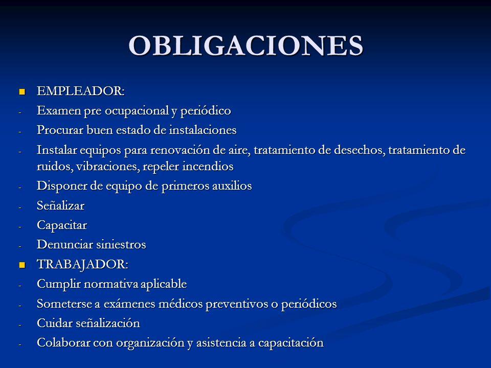 OBLIGACIONES EMPLEADOR: Examen pre ocupacional y periódico