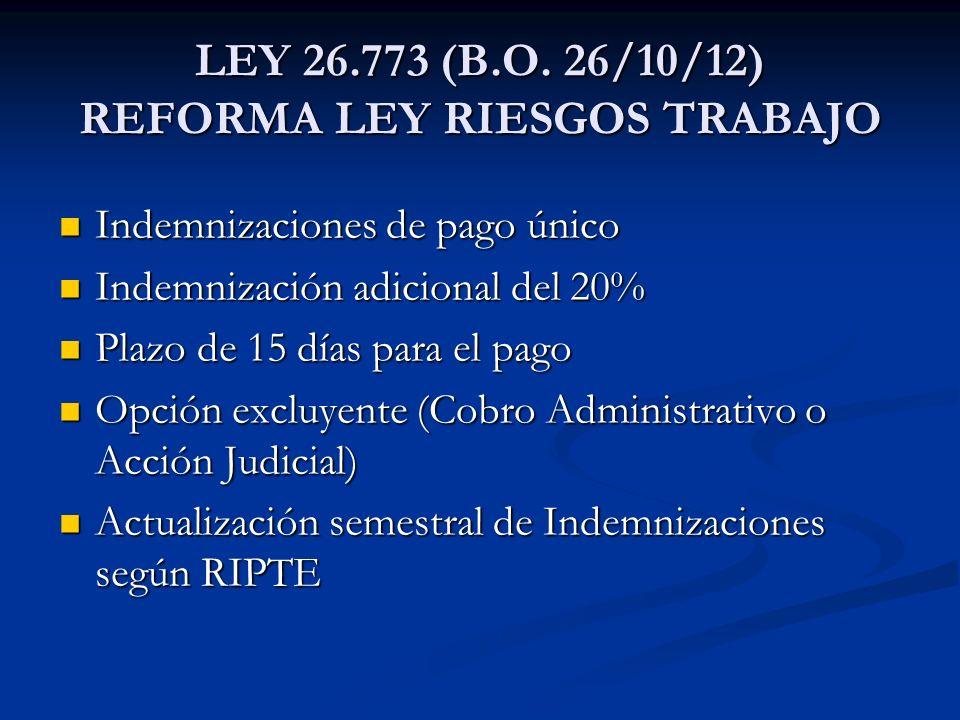 LEY 26.773 (B.O. 26/10/12) REFORMA LEY RIESGOS TRABAJO
