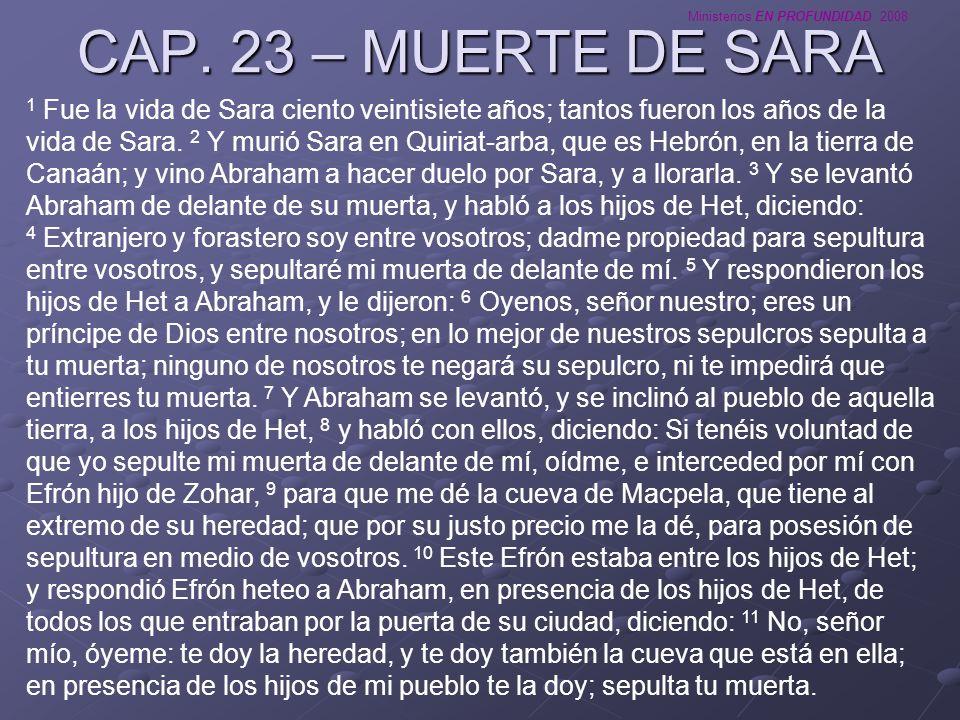CAP. 23 – MUERTE DE SARA