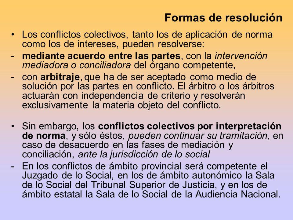 Formas de resolución Los conflictos colectivos, tanto los de aplicación de norma como los de intereses, pueden resolverse: