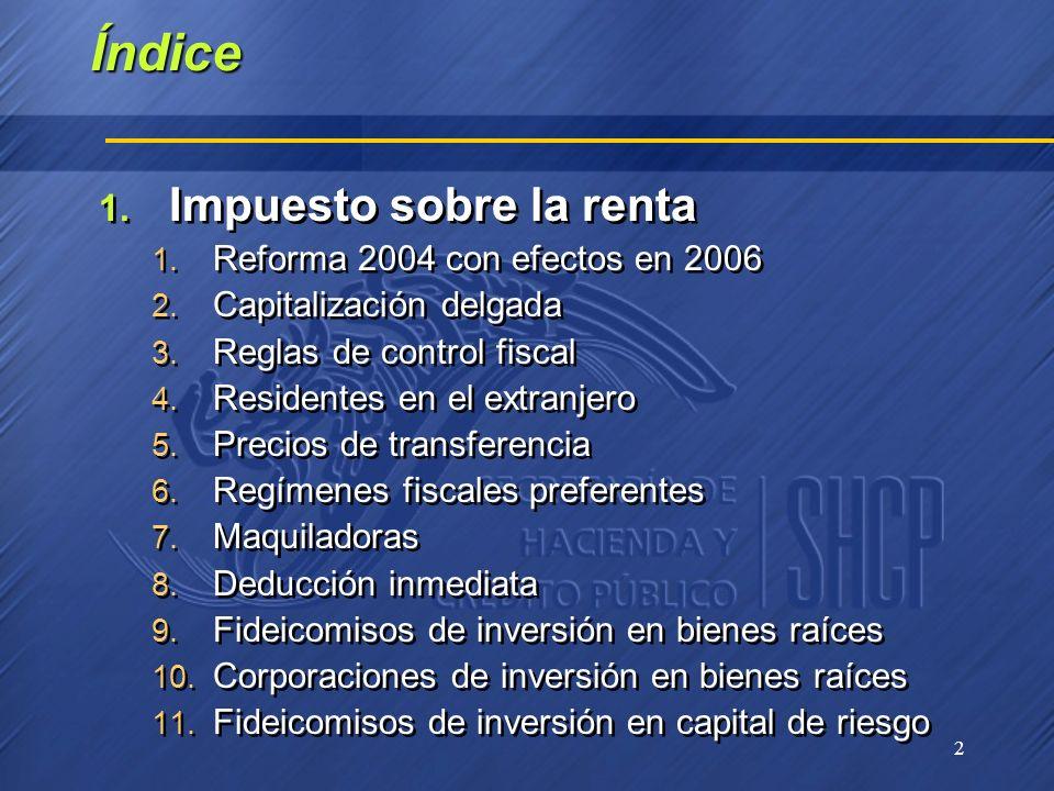 Índice Impuesto sobre la renta Reforma 2004 con efectos en 2006