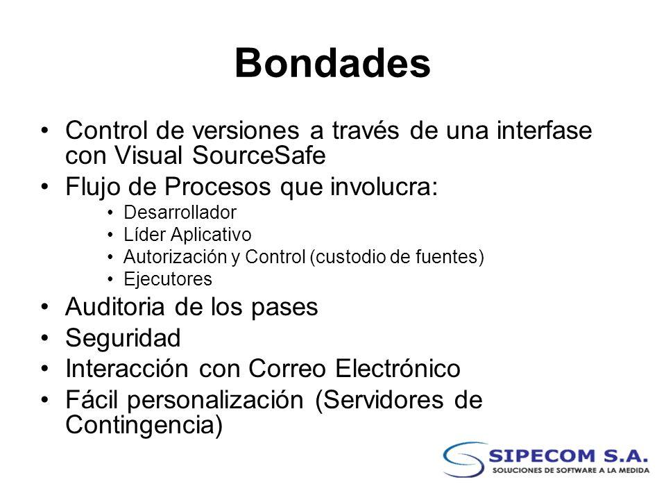 BondadesControl de versiones a través de una interfase con Visual SourceSafe. Flujo de Procesos que involucra: