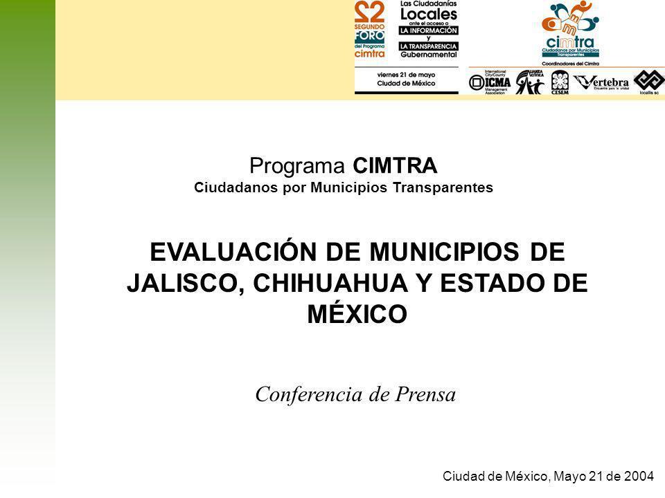 EVALUACIÓN DE MUNICIPIOS DE JALISCO, CHIHUAHUA Y ESTADO DE MÉXICO