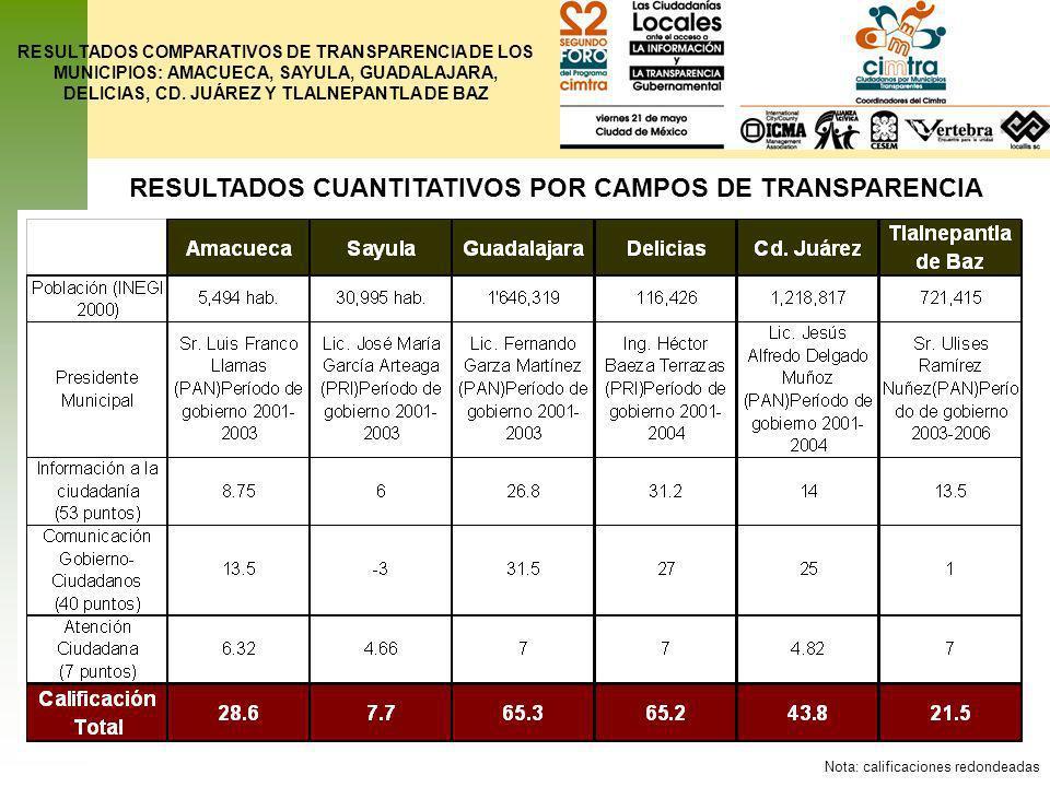 RESULTADOS CUANTITATIVOS POR CAMPOS DE TRANSPARENCIA