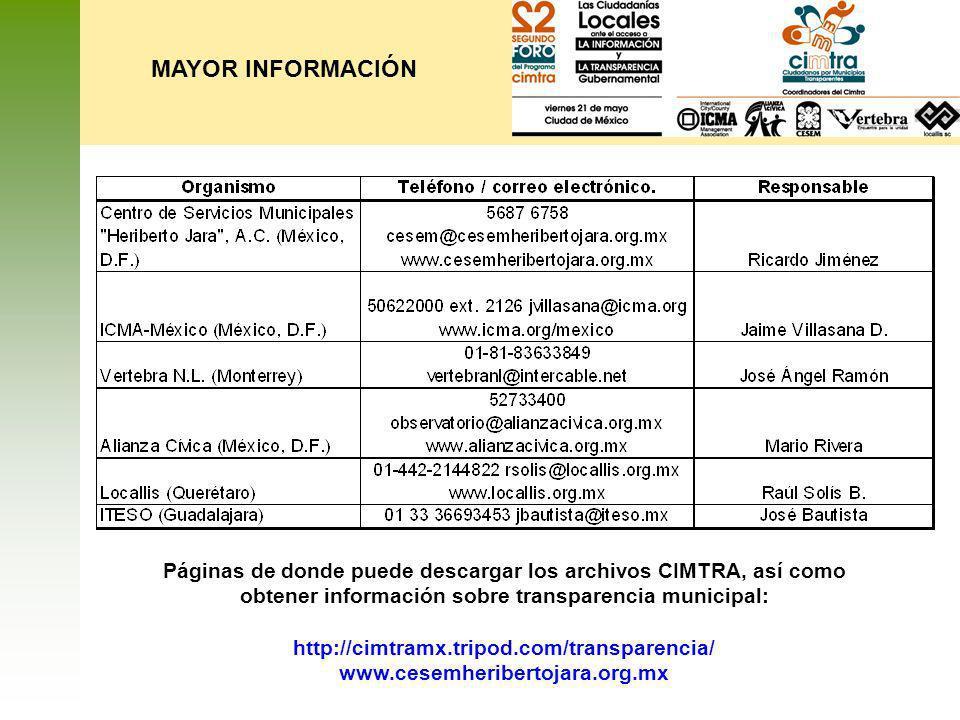 MAYOR INFORMACIÓNPáginas de donde puede descargar los archivos CIMTRA, así como obtener información sobre transparencia municipal: