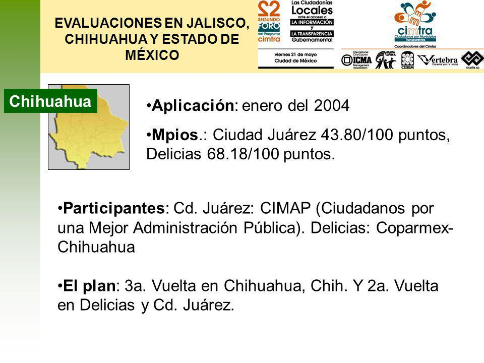 EVALUACIONES EN JALISCO, CHIHUAHUA Y ESTADO DE MÉXICO