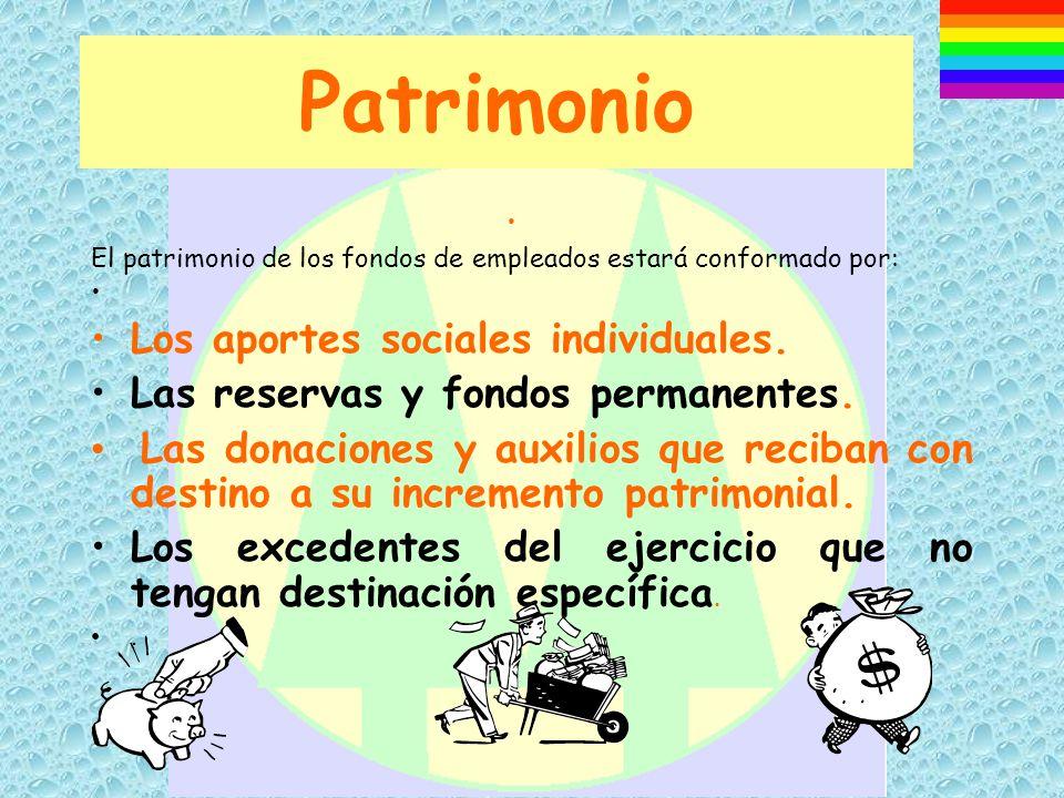 Patrimonio Los aportes sociales individuales.