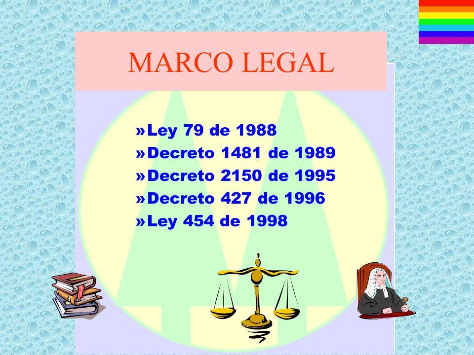 MARCO LEGAL Ley 79 de 1988 Decreto 1481 de 1989 Decreto 2150 de 1995