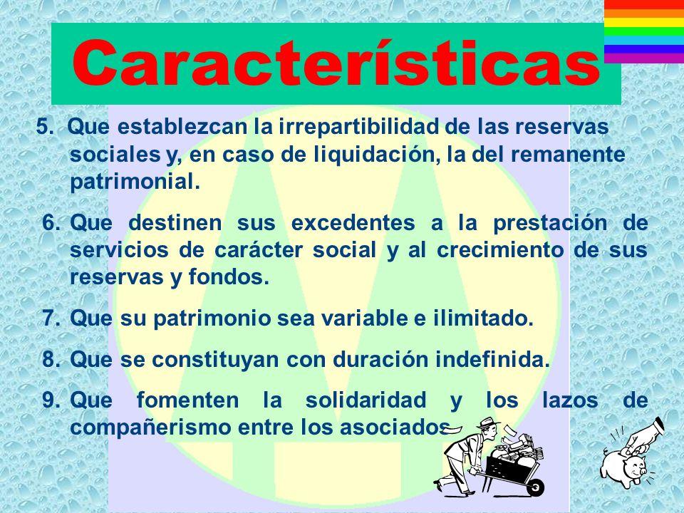 Características 5. Que establezcan la irrepartibilidad de las reservas sociales y, en caso de liquidación, la del remanente patrimonial.