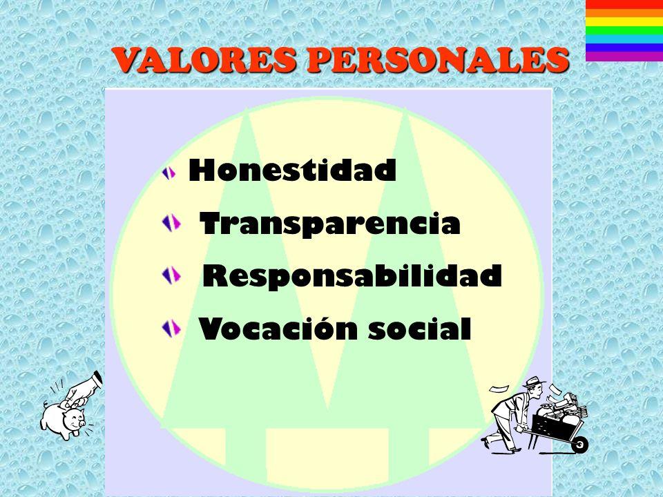 VALORES PERSONALES Transparencia Responsabilidad Vocación social
