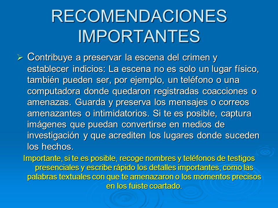 RECOMENDACIONES IMPORTANTES