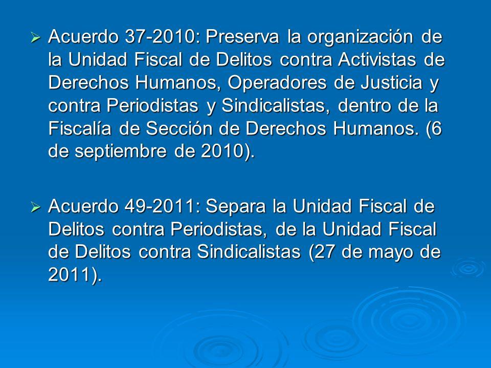 Acuerdo 37-2010: Preserva la organización de la Unidad Fiscal de Delitos contra Activistas de Derechos Humanos, Operadores de Justicia y contra Periodistas y Sindicalistas, dentro de la Fiscalía de Sección de Derechos Humanos. (6 de septiembre de 2010).