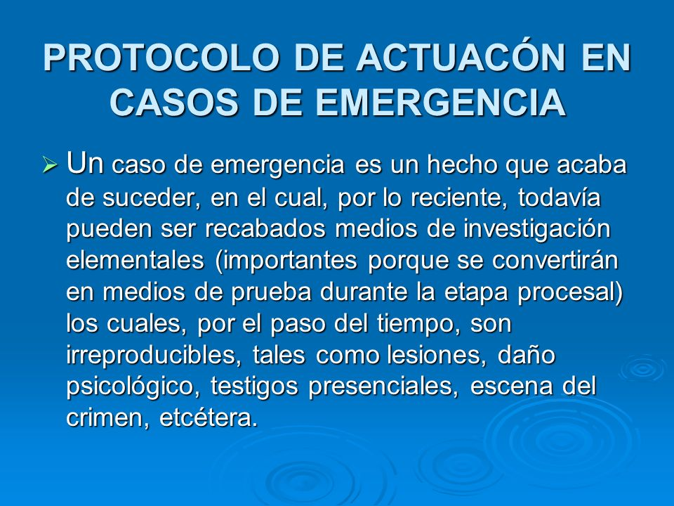 PROTOCOLO DE ACTUACÓN EN CASOS DE EMERGENCIA