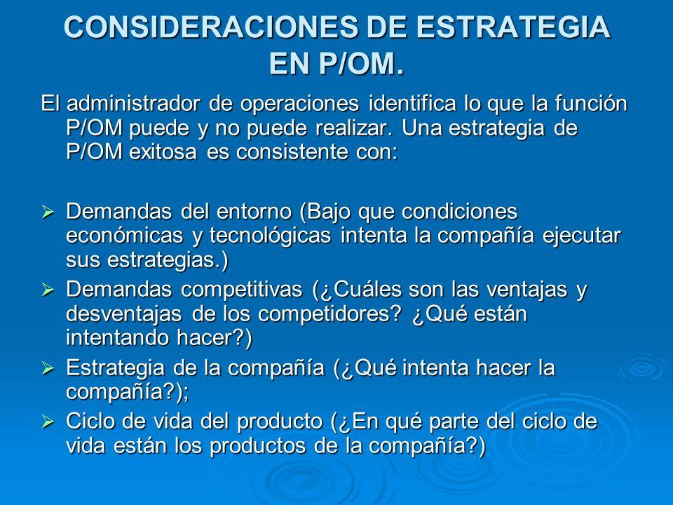 CONSIDERACIONES DE ESTRATEGIA EN P/OM.