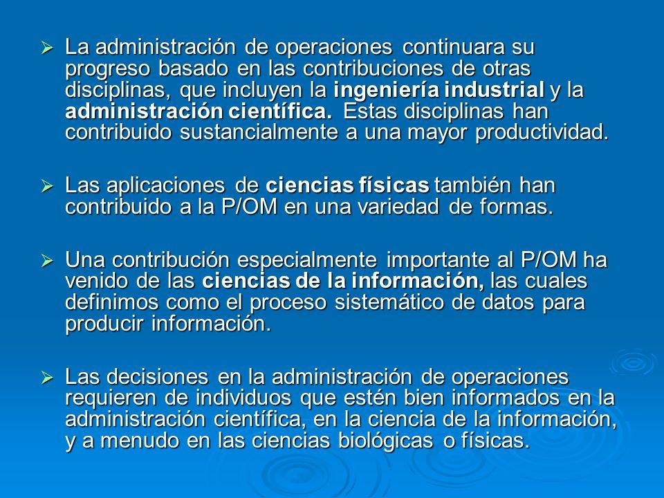 La administración de operaciones continuara su progreso basado en las contribuciones de otras disciplinas, que incluyen la ingeniería industrial y la administración científica. Estas disciplinas han contribuido sustancialmente a una mayor productividad.
