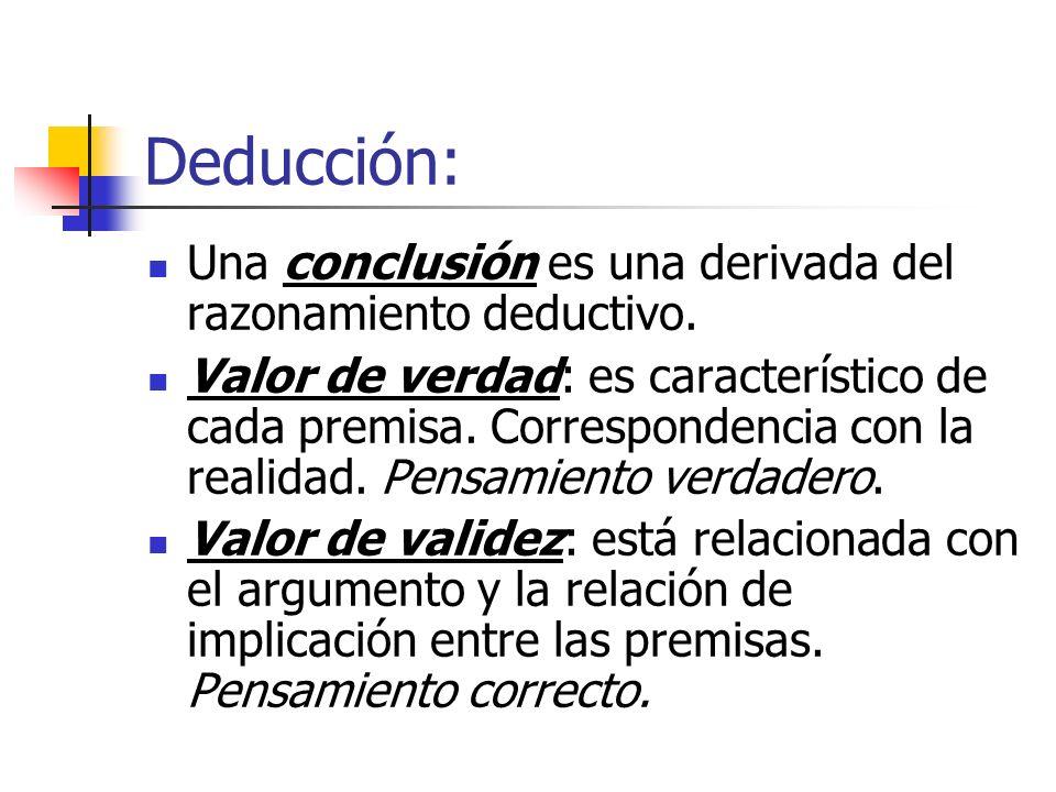 Deducción: Una conclusión es una derivada del razonamiento deductivo.