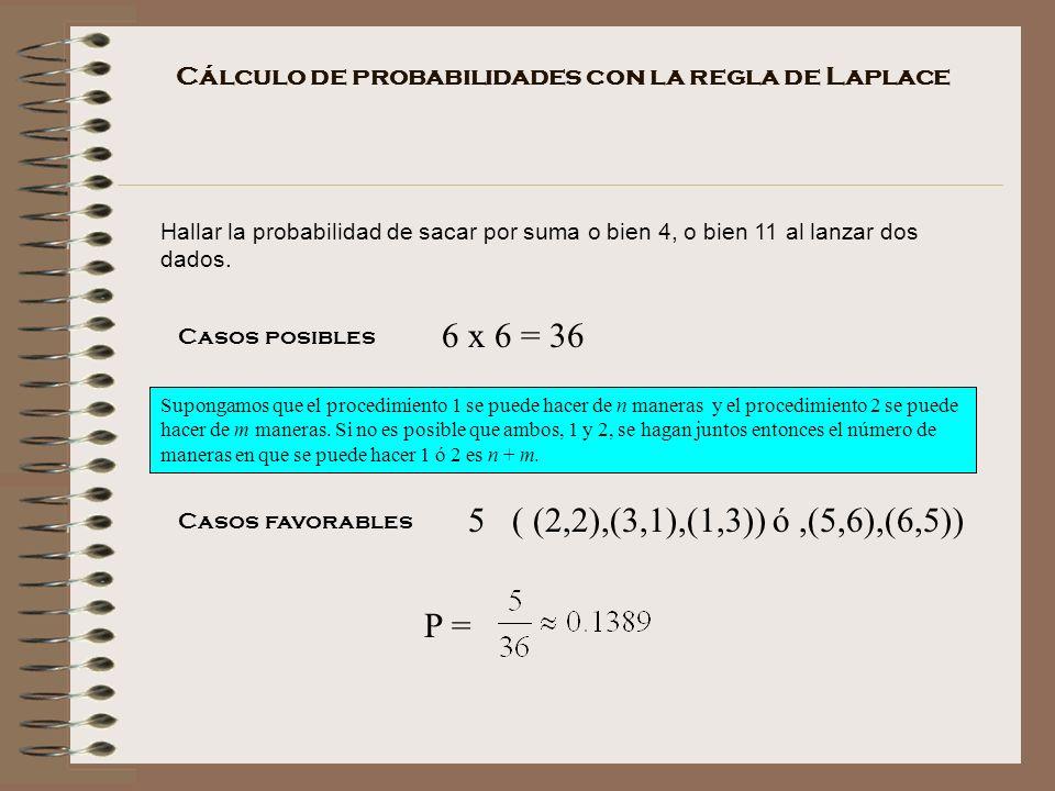 Cálculo de probabilidades con la regla de Laplace