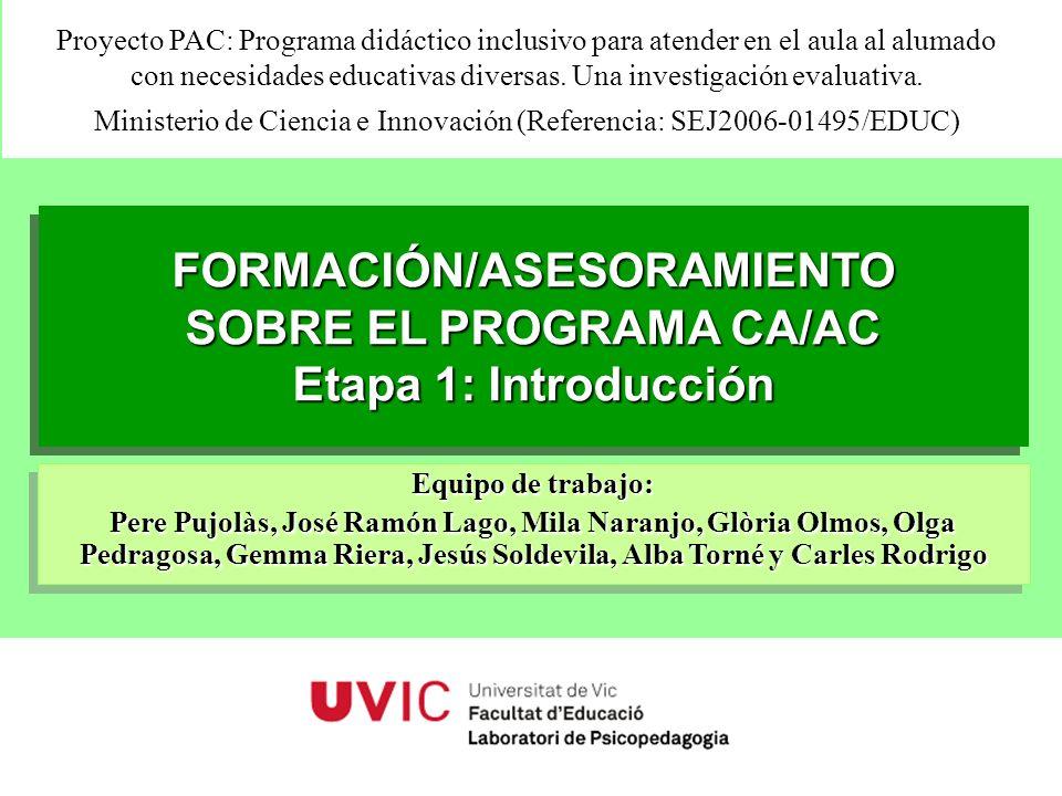 FORMACIÓN/ASESORAMIENTO SOBRE EL PROGRAMA CA/AC