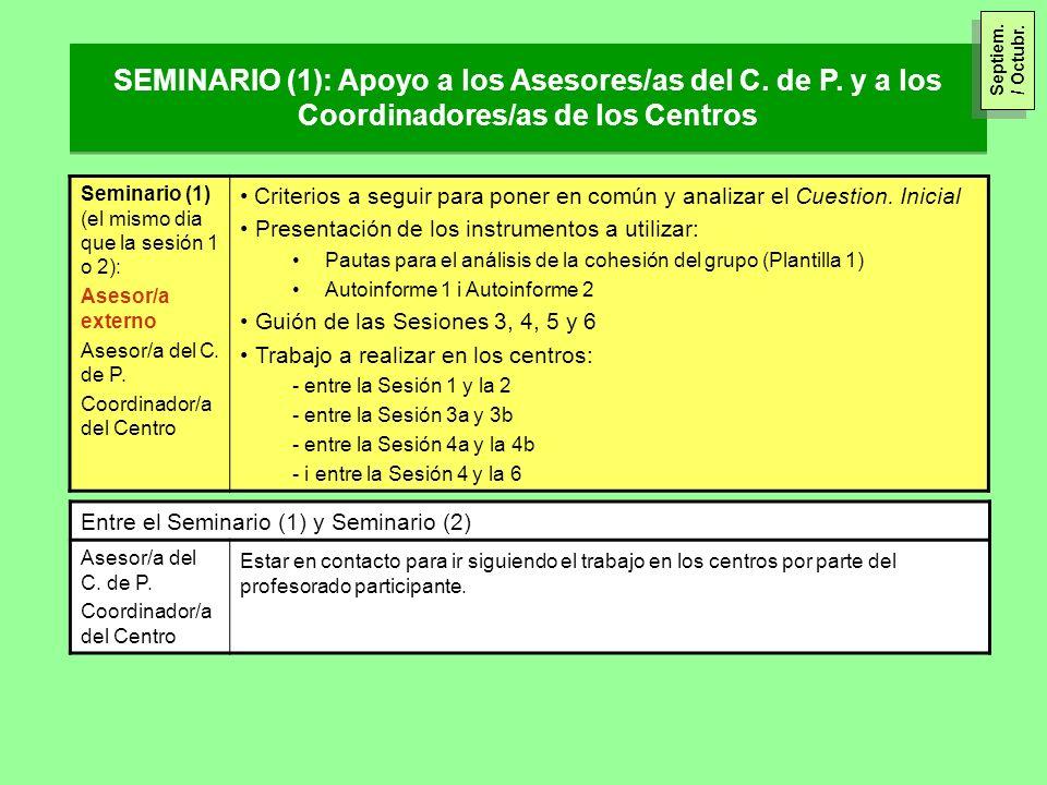 Septiem. / Octubr. SEMINARIO (1): Apoyo a los Asesores/as del C. de P. y a los Coordinadores/as de los Centros.