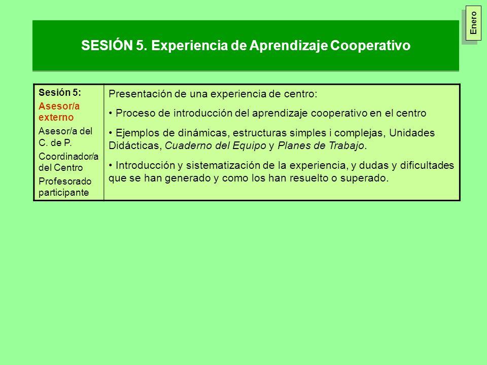 SESIÓN 5. Experiencia de Aprendizaje Cooperativo