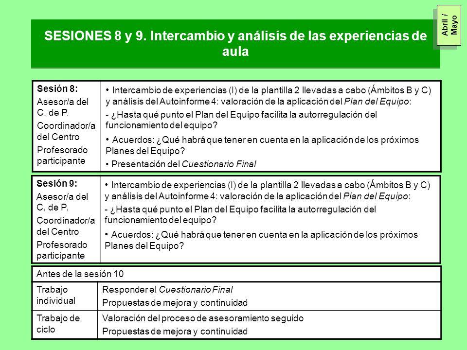 SESIONES 8 y 9. Intercambio y análisis de las experiencias de aula