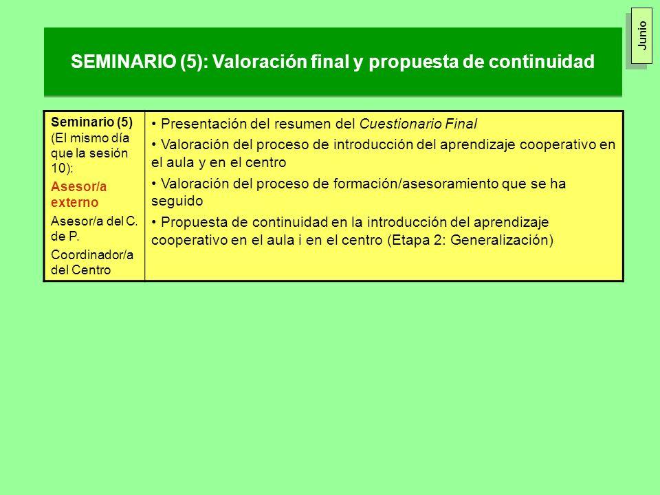 SEMINARIO (5): Valoración final y propuesta de continuidad