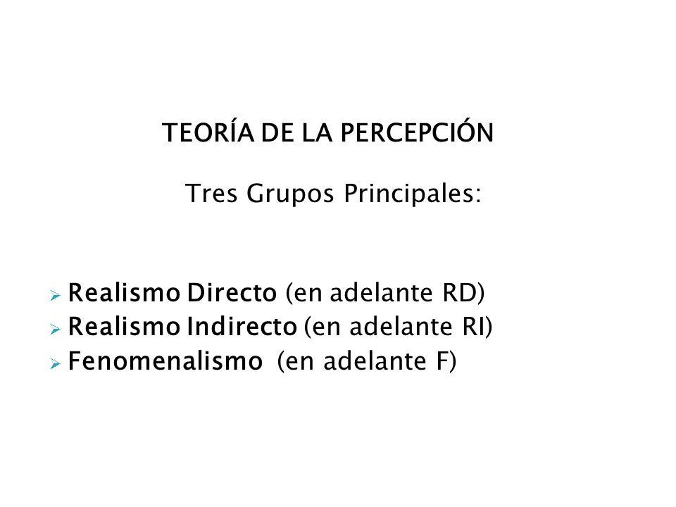 TEORÍA DE LA PERCEPCIÓN Tres Grupos Principales: