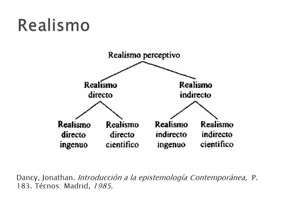 Realismo Dancy, Jonathan. Introducción a la epistemología Contemporánea, P.