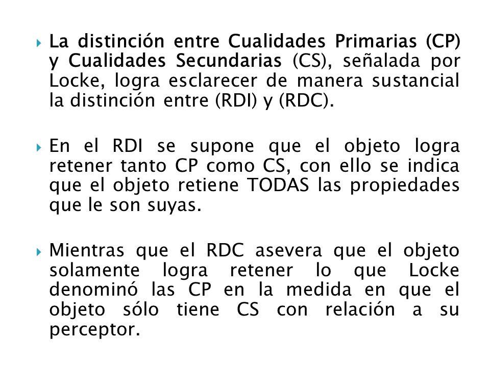 La distinción entre Cualidades Primarias (CP) y Cualidades Secundarias (CS), señalada por Locke, logra esclarecer de manera sustancial la distinción entre (RDI) y (RDC).