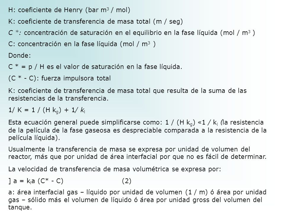 H: coeficiente de Henry (bar m3 / mol)