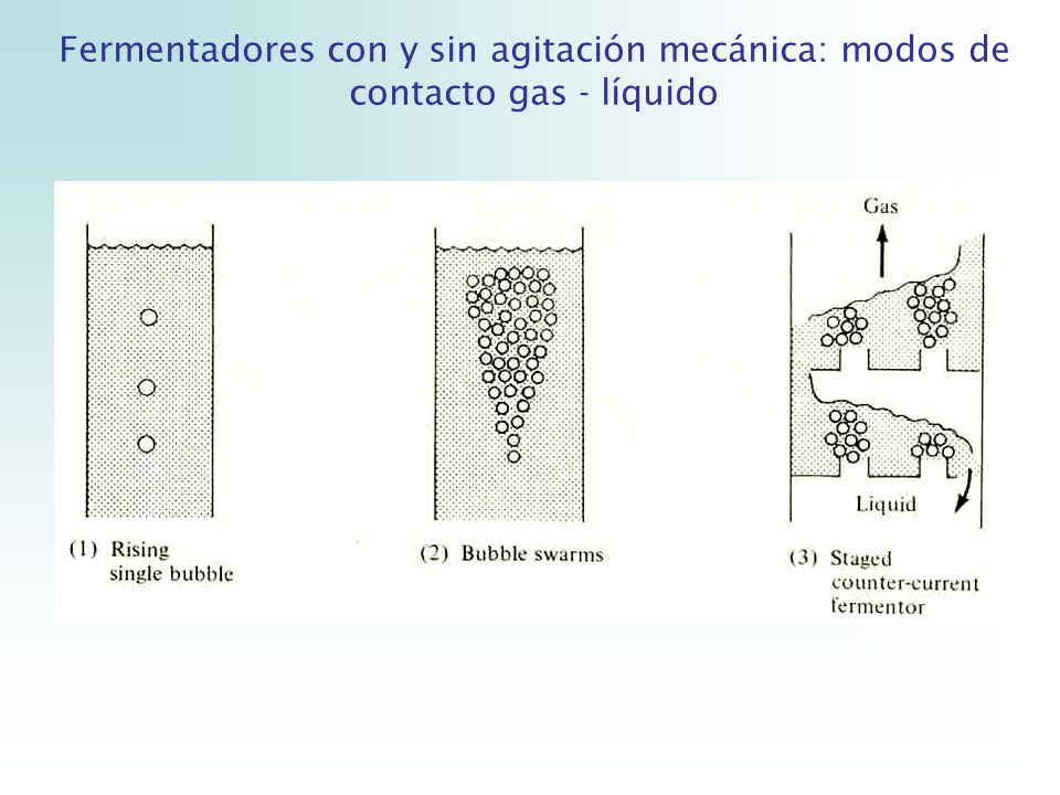Fermentadores con y sin agitación mecánica: modos de contacto gas - líquido