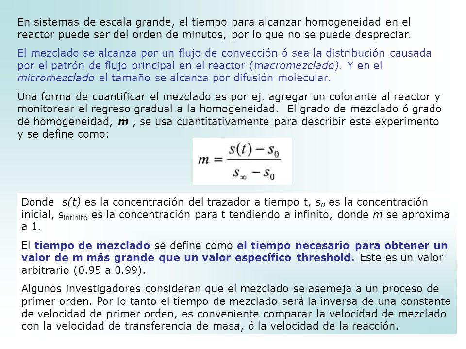 En sistemas de escala grande, el tiempo para alcanzar homogeneidad en el reactor puede ser del orden de minutos, por lo que no se puede despreciar.