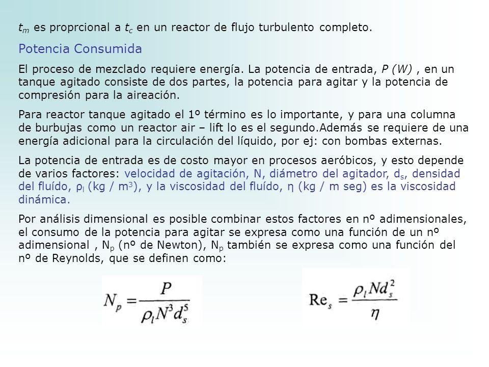 tm es proprcional a tc en un reactor de flujo turbulento completo.